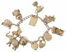 A 9ct rose gold charm bracelet