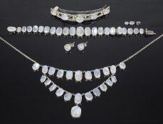 An attractive suite of moonstone set jewellery