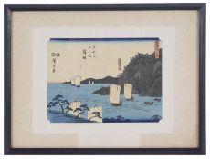Hiroshige 1st (Japanese, 1797 - 1858) 'Ferry boat at Maisaka', woodblock print
