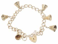 A 9ct gold bell charm bracelet