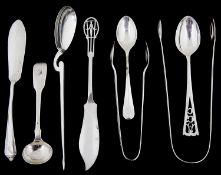A small collection of Georgian and later silver flatware