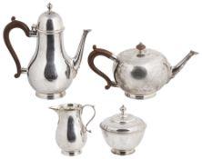 A four piece silver tea service, hallmarked London 1959