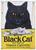 Black Cat Pure Matured Virginia Cigarettes' enamel advertising sign