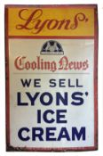 A vintage 'Lyons' Ice Cream' enamelled advertising sign