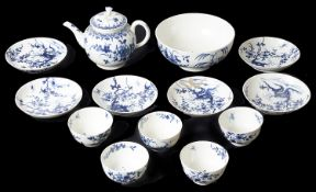 Worcester blue and white porcelain tea bowls with saucers; others