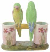 Jerome Massier Fils, A French majolica vase; pair of budgerigars