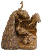 After Fulbert Pierre Larregieu (French, 19th century) bronze group of peacocks