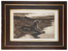 Herbert Thomas Dicksee (British, 1862 - 1942) 'Lioness with cub', engraving