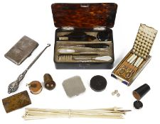 A varied collection of treen, compacts and manicure sets