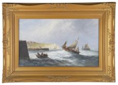 British School, early 20th century 'Boats in the harbour', oil on board