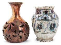 A Hispano Moresque copper lustre pierced incense burner