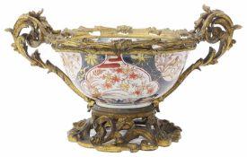 An 18th Chinese Imari twin handled porcelain bowl