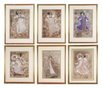 Donato Forte (Italian), circa 1988, collection of six ballet costume designs for Hamlet & others