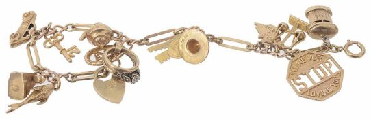 A 9ct gold fancy link charm bracelet with heart padlock fastening