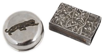 A Oriental white metal matchbox cover