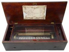 A cylinder musical box, Swiss c1880