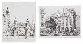 Terence Henry Lambert (British, b.1891) 'Piccadilly Circus' & Lincoln's Inn' London, etchings