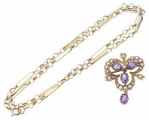 Edwardian style amethyst and seed pearl pendant brooch