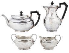 An Edwardian four piece silver tea set, Sheffield 1928/1929/1931