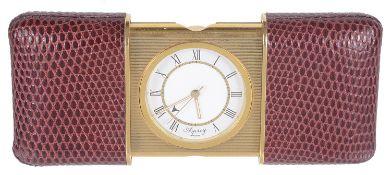 An Asprey Movado style travelling alarm clock,