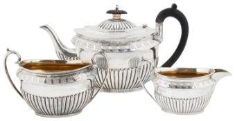 A Victorian two piece silver tea service, hallmarked Sheffield 1887