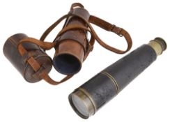 A Cary London four draw brass and leather telescope, with leather case