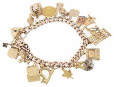 A 15ct rose gold charm bracelet; 9ct gold heart padlock fastening