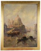 Venetian School, 19th century 'Gondola's on the canal' oil on canvas