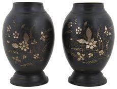 A pair of Indian Bidri metal vases, 20th century