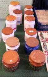 Lot 48 - A collection of Hornsea wooden lidded kitchen storage jars, to include Bronte pattern and others.
