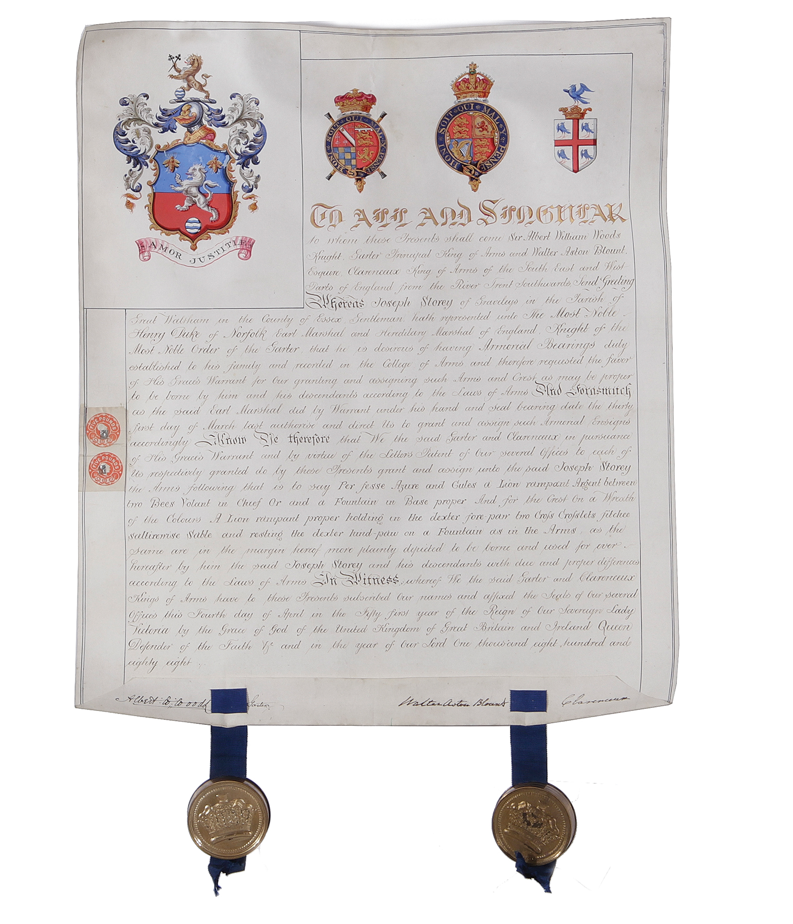 Lot 1348 - Grant of arms to Joseph StoreyProvenance: Georgia collectionPlease check our website for updated
