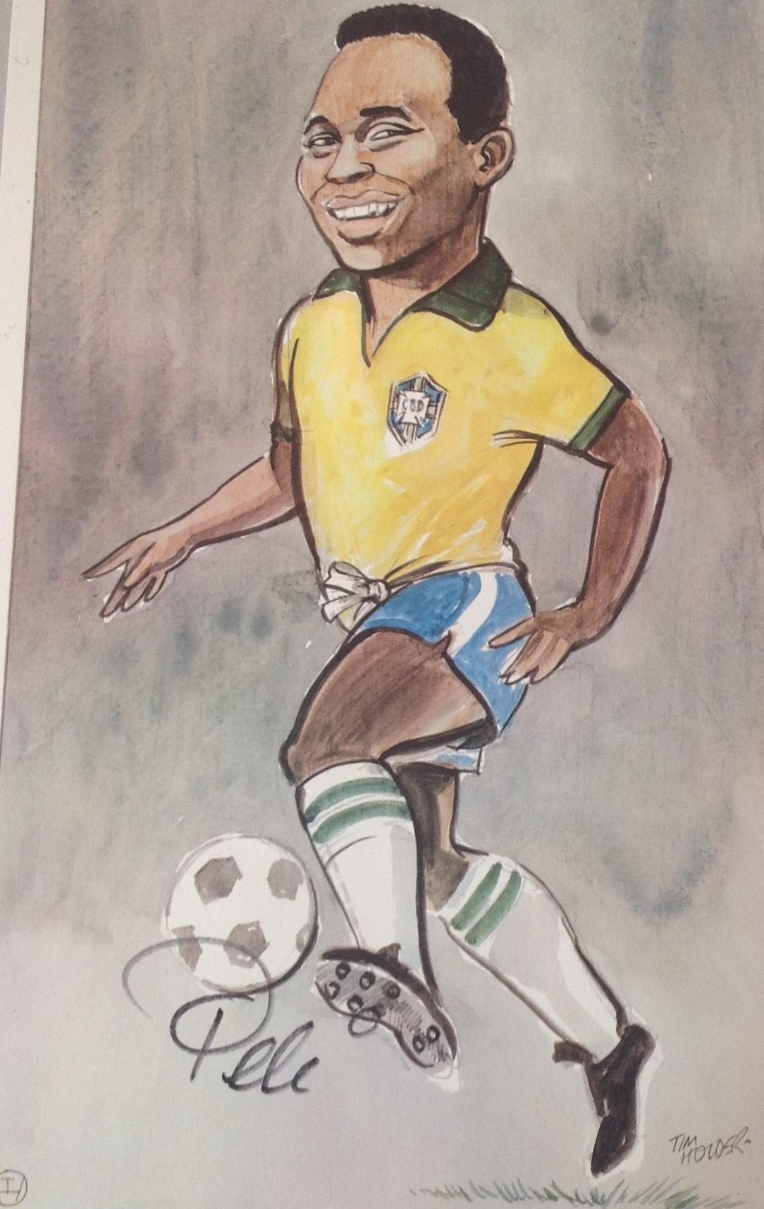 Pele Brazil football legend signed 14 x 9 colour amusing caricature ...