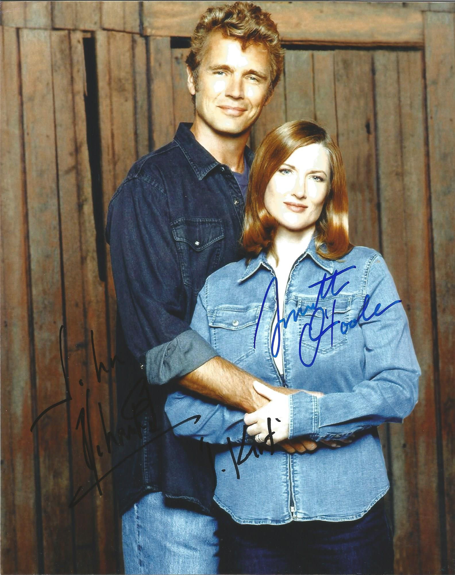 Lot 43 - Smallville Cast signed 10 x 8 colour Portrait Photo Signed By Annette Ostiole And John Schneider,