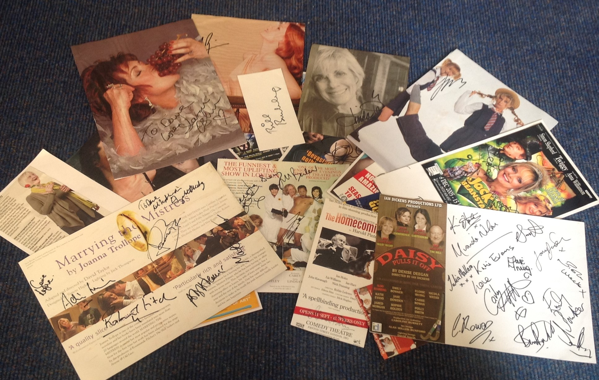 Lot 19 - Assorted TV/film signed collection. 24 items. Variety of flyers and newspaper photos all signed.