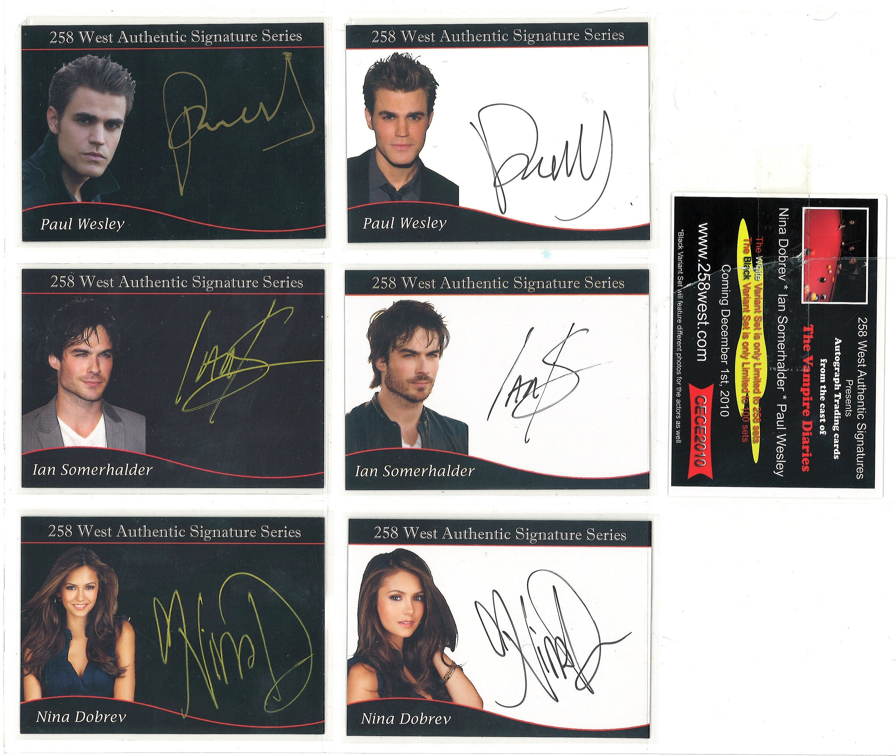 Lot 6 - Vampire Diaries Limited edition collection of 6 autographed 258 West trading cards. Each card has