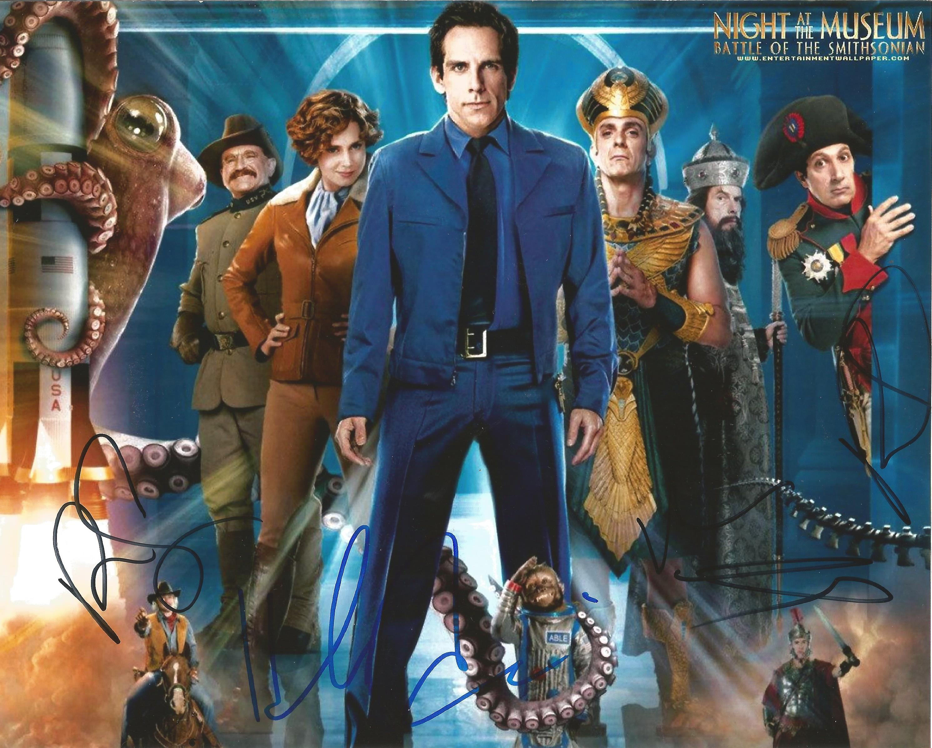 Lot 58 - Night At The Museum signed 10 x 8 colour Cast Photoshoot Landscape Photo Signed By Ben Stiller, Hank