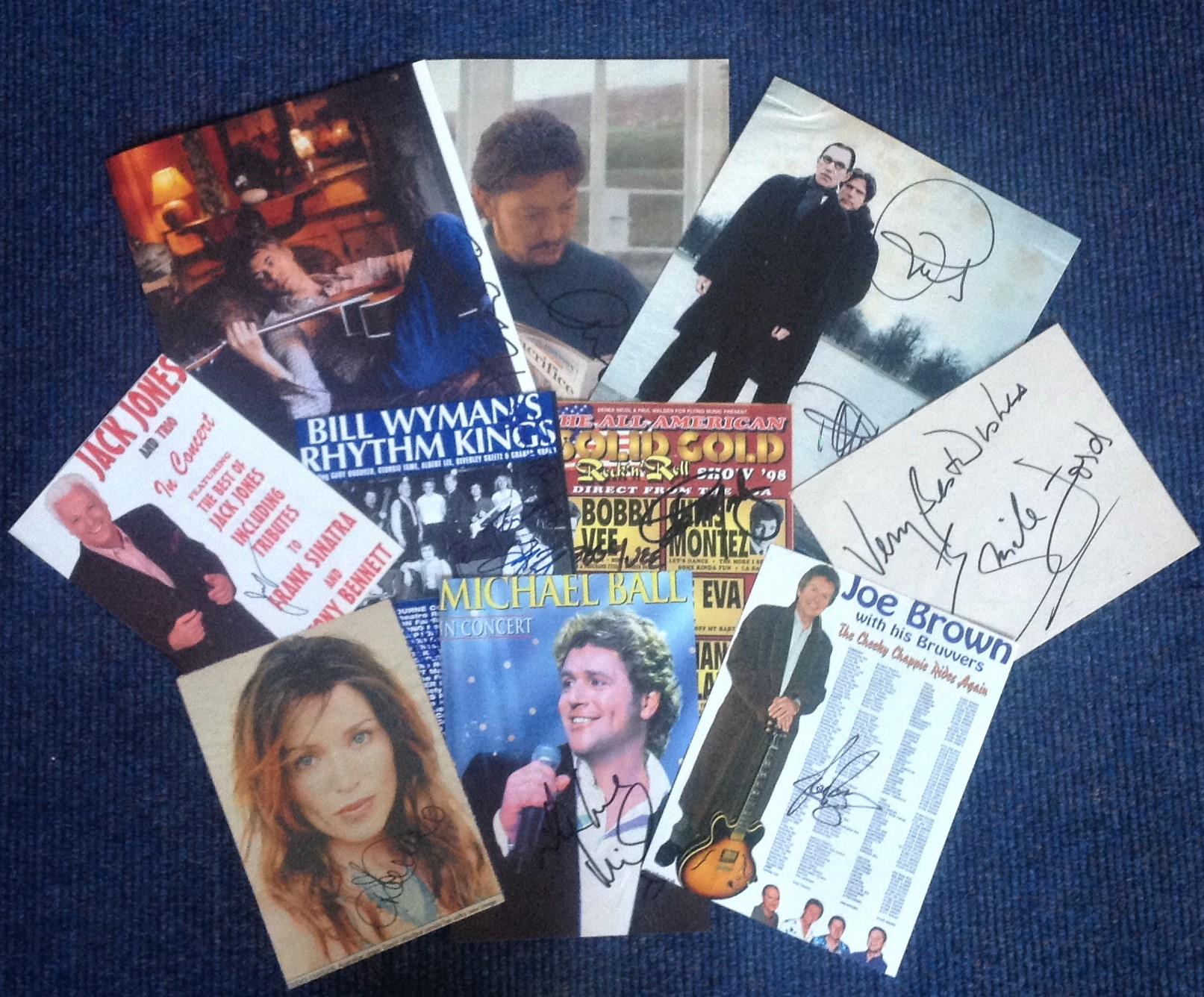 Lot 23 - Music signed collection. 10 items assorted flyers and newspaper photos. Some of names included are