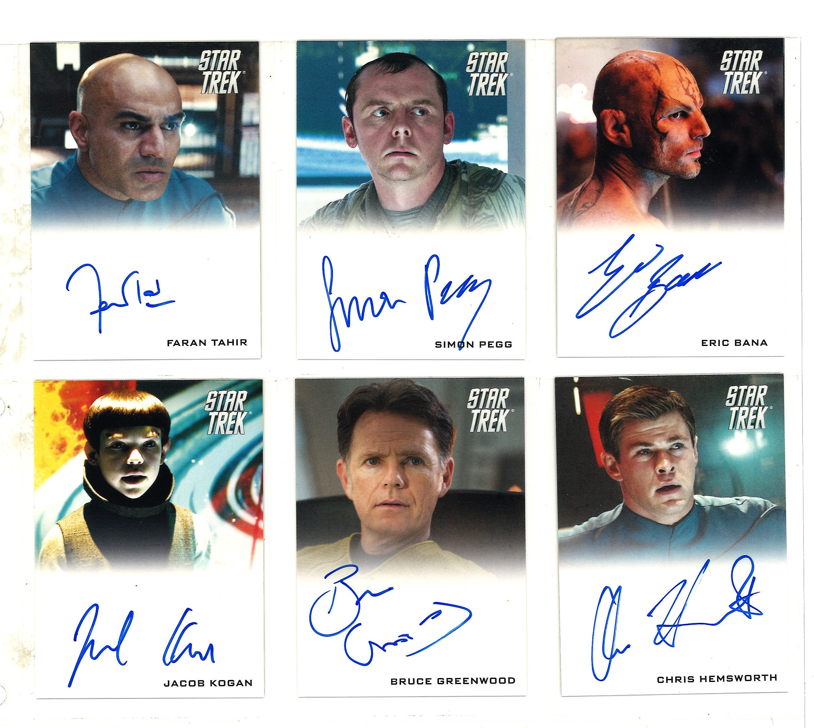 Lot 5 - Star Trek Limited edition collection of 6 autographed Rittenhouse trading cards. Each card has