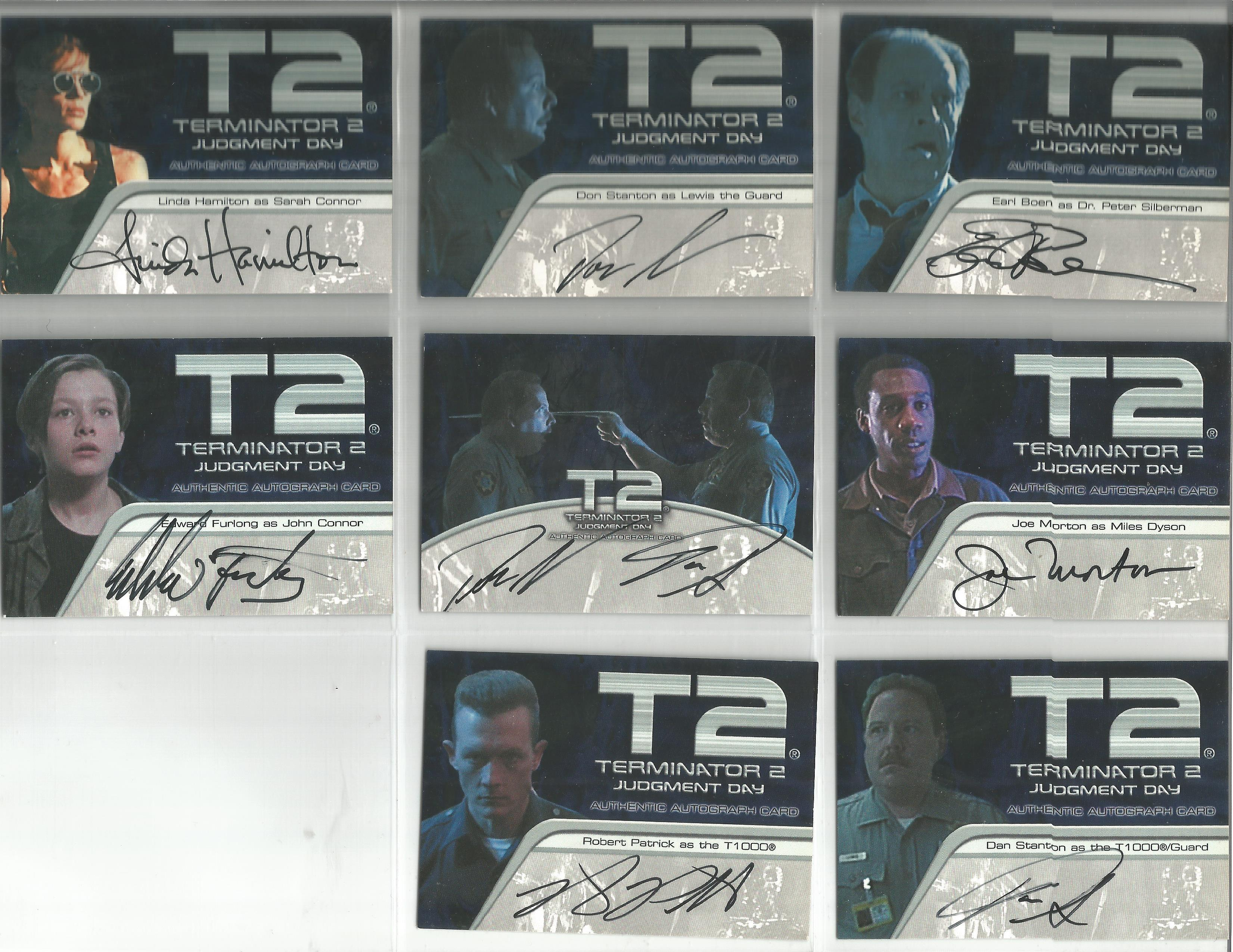 Lot 1 - Terminator 2 Judgement Day collection of 8 autographed Artbox trading cards. Each card has picture