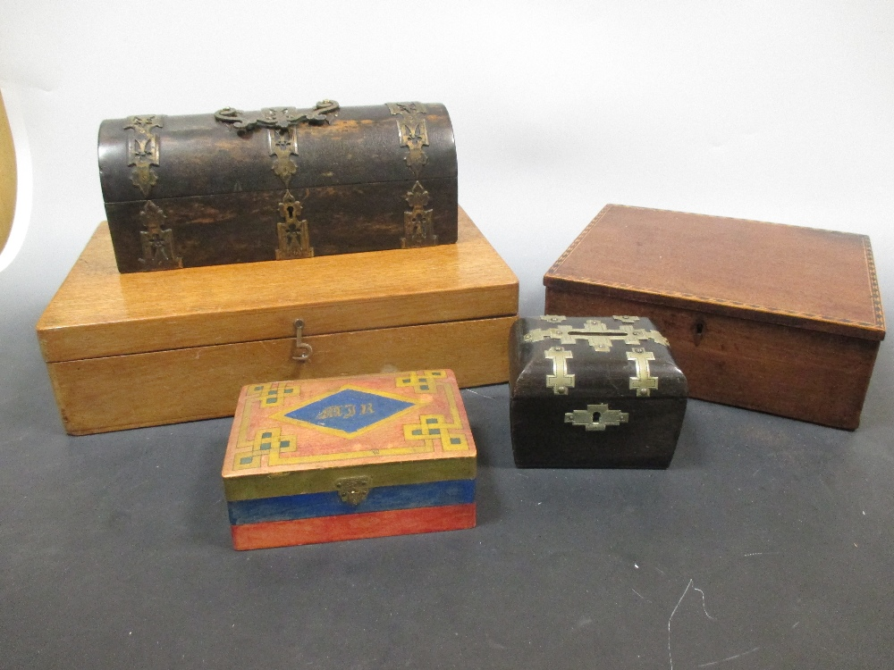Lot 60 - A Victorian glove box with other boxes