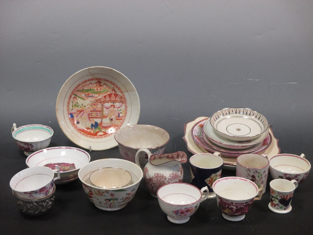 Lot 50 - A collection of pink lustre, puce printed and related wares by Davenport, Hilditch and others
