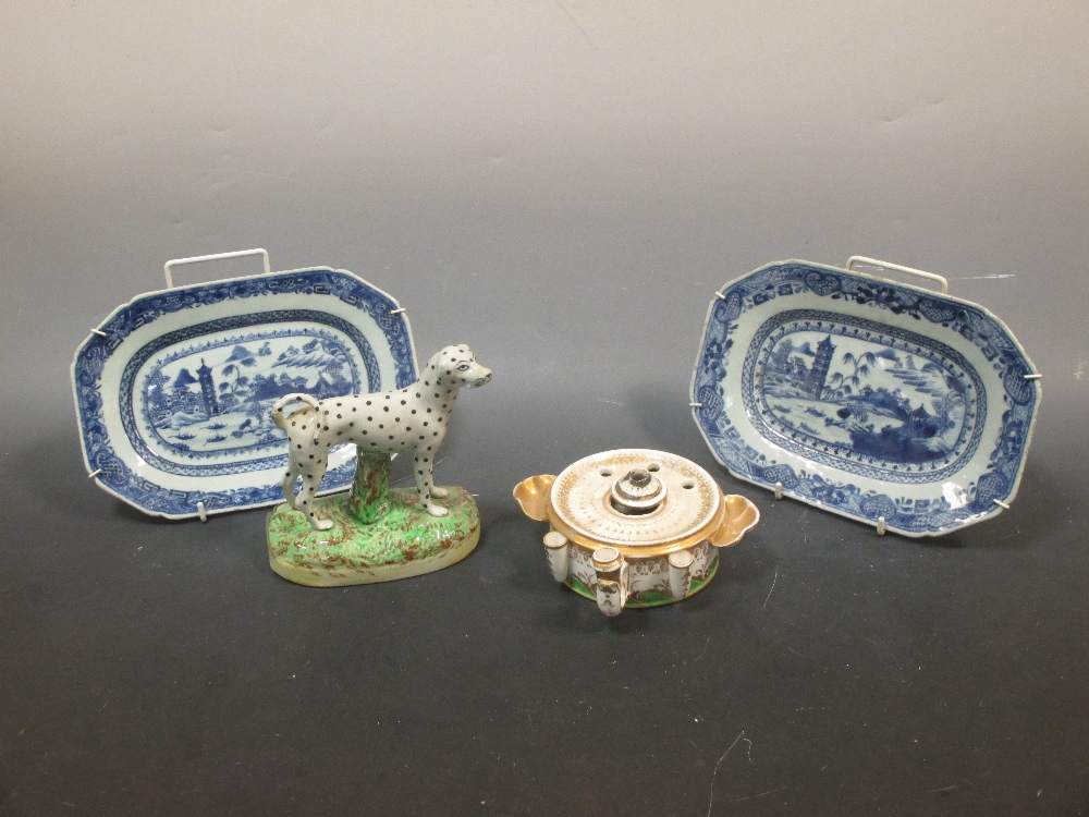 Lot 26 - A pair of 18th century small Chinese export rectangular blue and white dishes, a Staffordshire