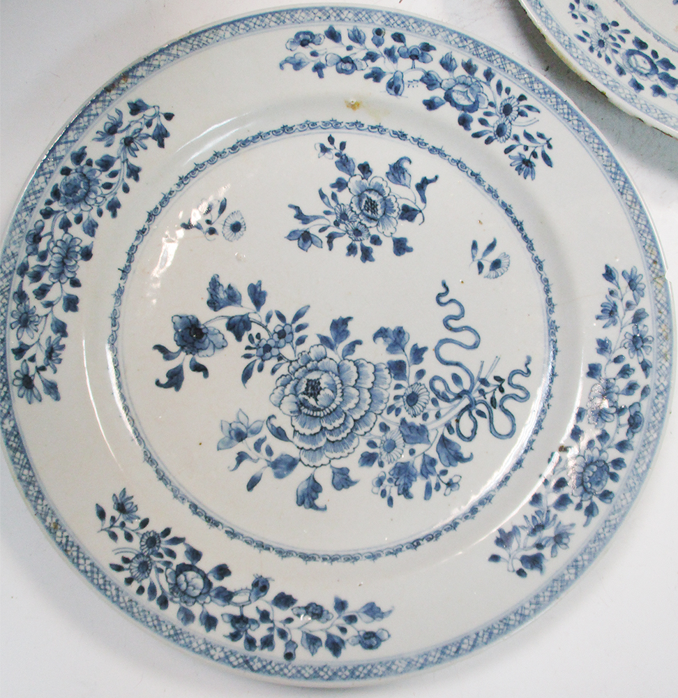 Lot 1 - A pair of 18th century Chinese blue and white plates and another smaller (3) One has a chip and