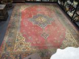 Lot 750 - A red ground Turkey type rug, typical decoration, 483 x 340cm