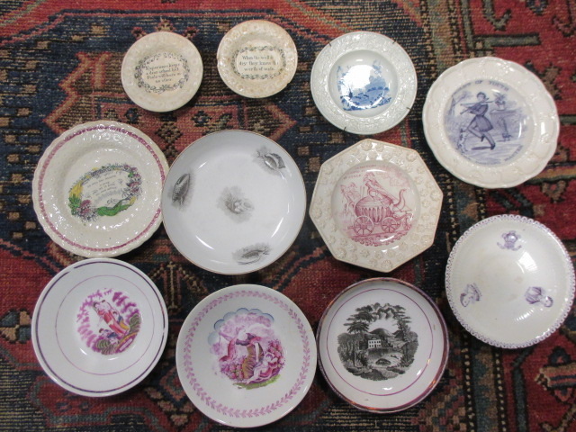 Lot 27 - A group of 19th century pottery items to include children's plates