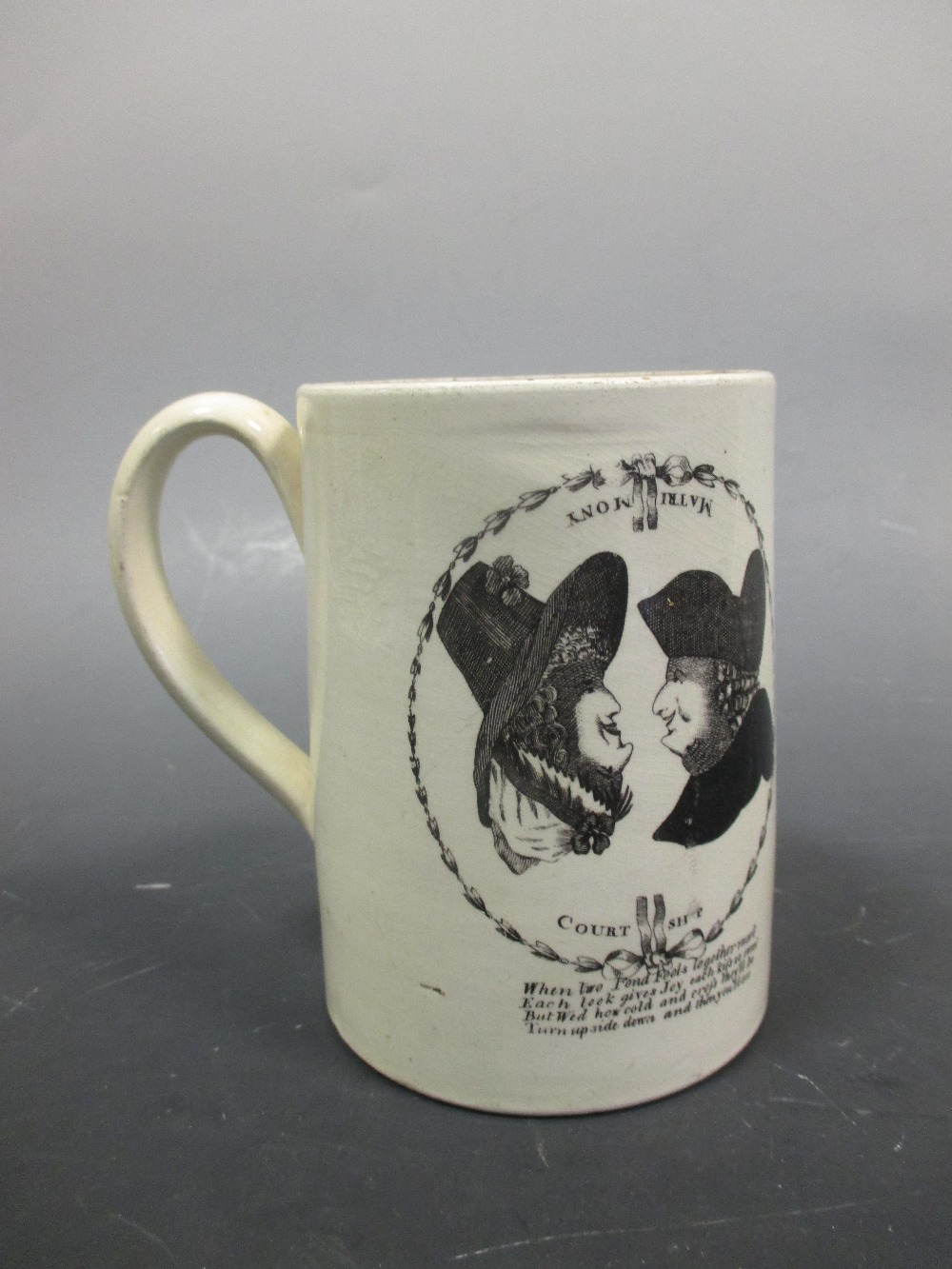 Lot 33 - A late 18th/early 19th century creamware mug printed in black with reversible images relating to '
