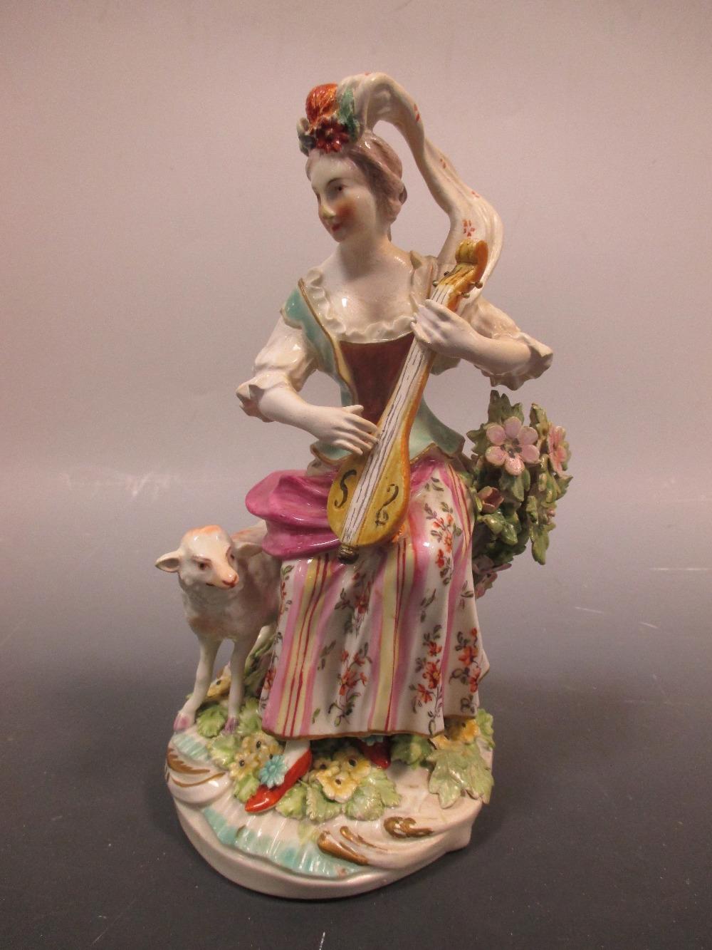 Lot 46 - A Derby figure of a Shepherdess