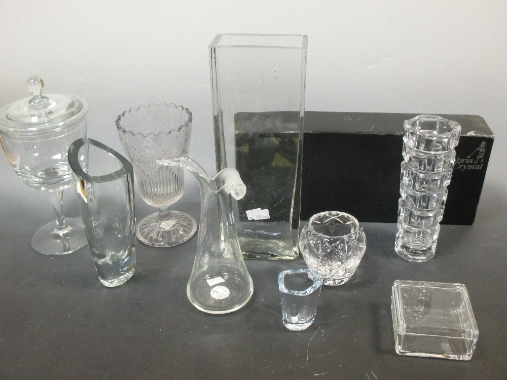 Lot 51 - Nine clear glass wares by Cumbria, Helkristal, Adrian Sanky, Berg and others
