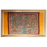 A brightly coloured thangka, decorated with numerous oriental figures, 104.5 x 147cm, mounted on