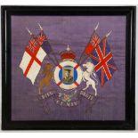 A regimental crest Sherwood Foresters (Nottinghamshire and Derby Regiment) silk work embroidery,